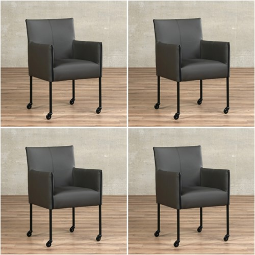 Leren eetkamerstoel More - met wieltjes - set van 4 stoelen - Toledo Leer Antracite - Kleur poot, zwart - Skate wiel zwart
