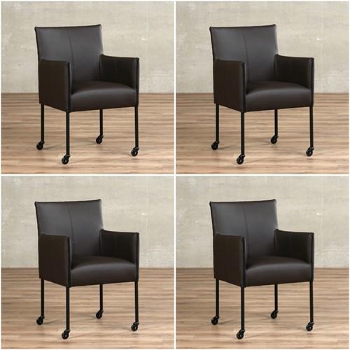Leren eetkamerstoel More - met wieltjes - set van 4 stoelen - Toledo Leer Caffe - Kleur poot, zwart - Skate wiel zwart