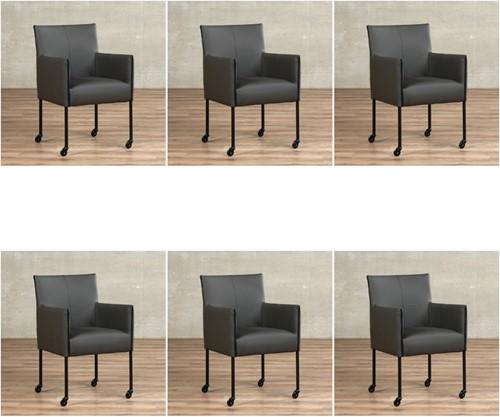 Leren eetkamerstoel More - met wieltjes - set van 6 stoelen - Toledo Leer Antracite - Kleur poot, zwart - Skate wiel zwart