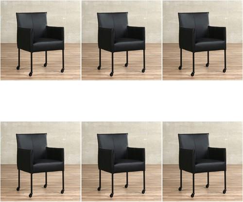 Leren eetkamerstoel More - met wieltjes - set van 6 stoelen - Toledo Leer Nero - Kleur poot, zwart - Skate wiel zwart