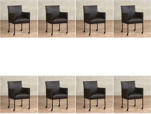 Leren eetkamerstoel More - met wieltjes - set van 8 stoelen - Toledo Leer Caffe - Kleur poot, zwart - Skate wiel zwart