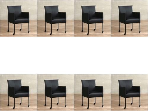 Leren eetkamerstoel More - met wieltjes - set van 8 stoelen - Toledo Leer Nero - Kleur poot, zwart - Skate wiel zwart
