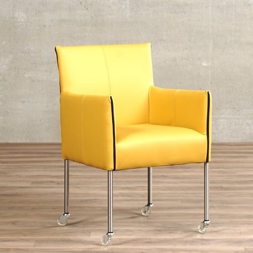 Leren eetkamerstoel More - met wieltjes en armleuning - Toledo Leer Lemon - Poot - RVS - Skate wiel transparant