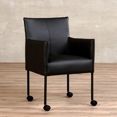 Leren eetkamerstoel More - met wieltjes en armleuning - Hermes Leer Nero - Poot - Zwart - Zwenkwiel zwart
