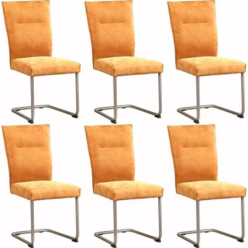 Leren eetkamerstoel Retro - set van 6 stoelen