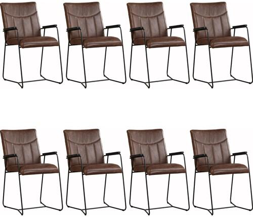 Leren eetkamerstoel Right met armleuning - set van 8 stoelen