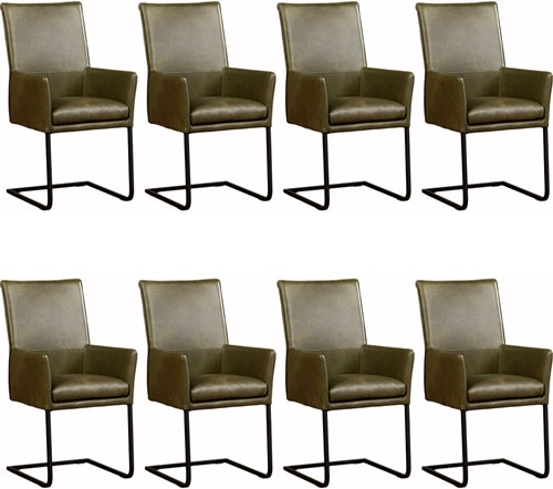 Leren eetkamerstoel Ruler - met armleuning - set van 8 stoelen