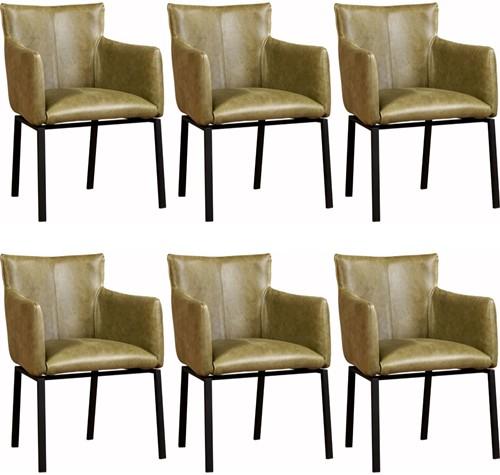 Leren eetkamerstoel Zen - set van 6 stoelen designpoot