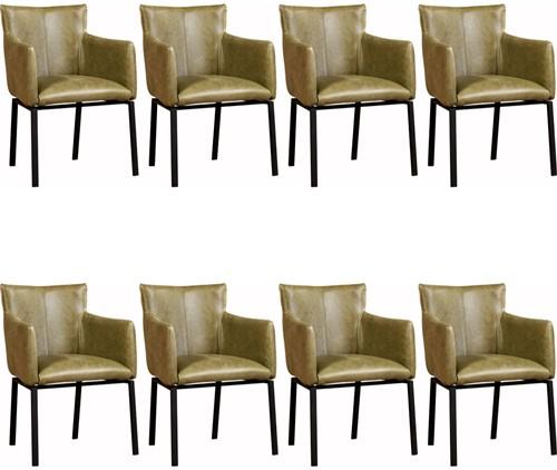 Leren eetkamerstoel Zen - set van 8 stoelen designpoot