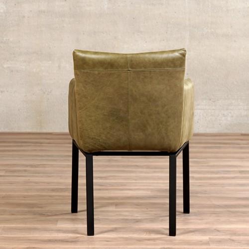 Leren eetkamerstoel Zen designpoot-3