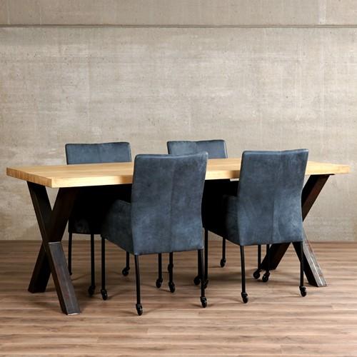 Set van 4 leren eetkamerstoelen - met wieltjes - blauw leer