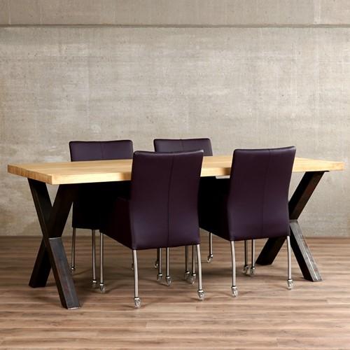 Set van 4 leren eetkamerstoelen - met wieltjes - paars leer