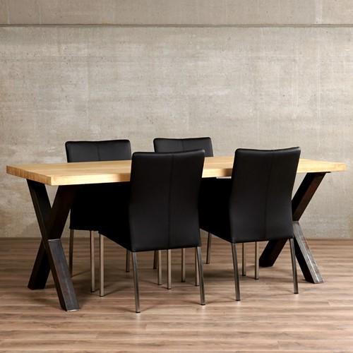 Set van 4 leren eetkamerstoelen - zwart leer