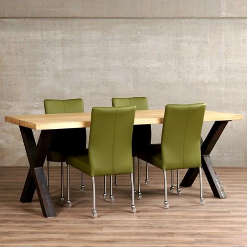 Set van 4 leren eetkamerstoelen - met wieltjes - groen leer