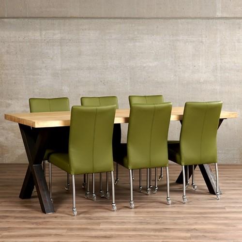 Set van 6 leren eetkamerstoelen - met wieltjes - groen leer