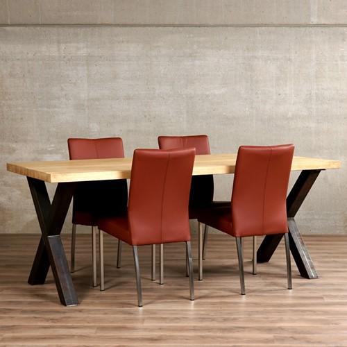 Set van 4 leren eetkamerstoelen - bruin leer