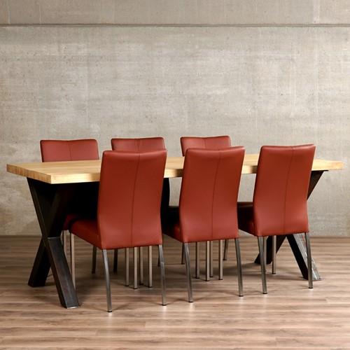 Set van 6 eetkamerstoelen - bruin leer