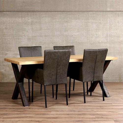 Set van 4 leren eetkamerstoelen - grijs leer
