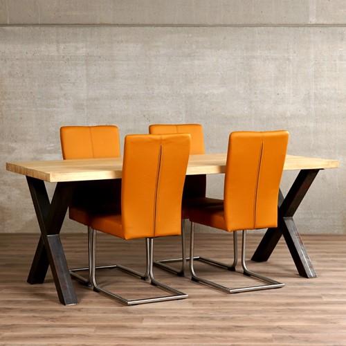 Set van 4 leren eetkamerstoelen - met sledepoot - bruin leer