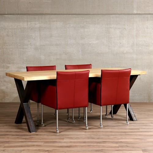 Set van 4 leren kuip eetkamerstoelen - met wieltjes - rood leer
