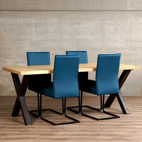 Set van 4 leren eetkamerstoelen - met sledepoot - blauw leer