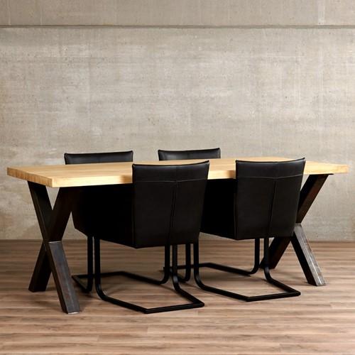 Set van 4 leren kuip eetkamerstoelen - met sledepoot - zwart leer
