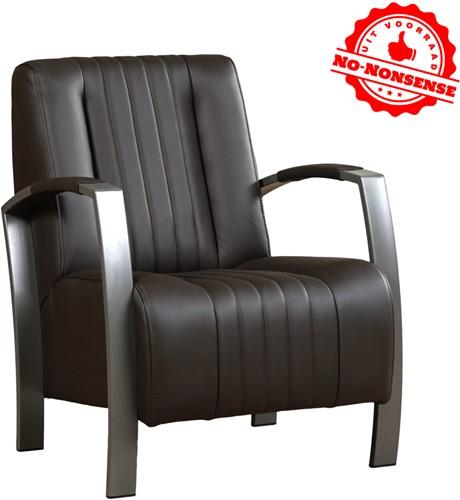 Leren fauteuil Glamour - Donker bruin - Grijs stalen frame