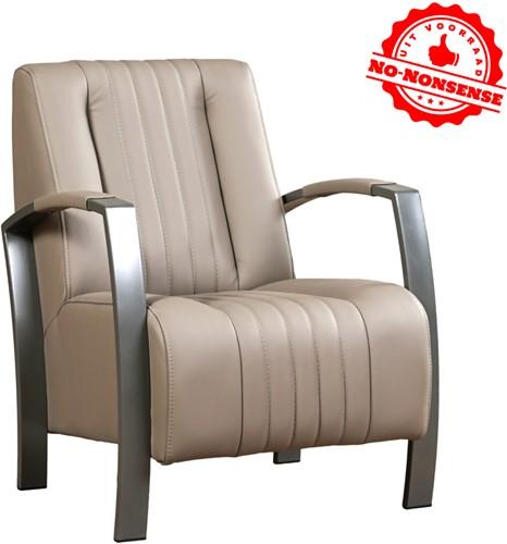 Leren fauteuil Glamour - Toledo leer Khaki - Grijs stalen frame