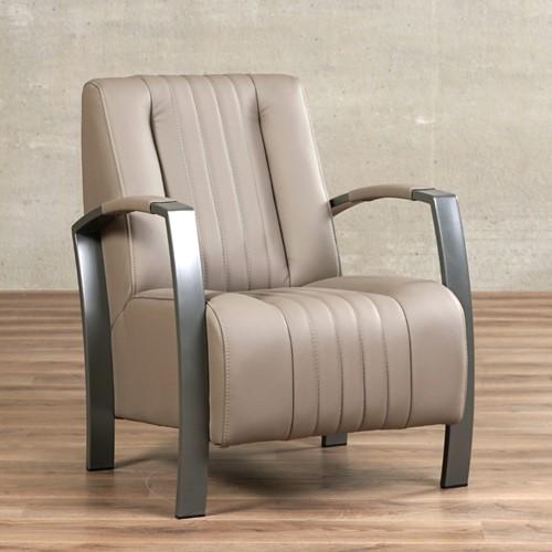 Leren fauteuil Glamour - Toledo Leer Khaki - Frame grijs