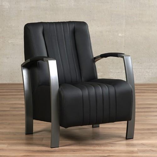 Leren fauteuil Glamour - Toledo Leer Nero - Frame grijs