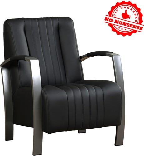 Leren fauteuil Glamour - Zwart leer - Grijs stalen frame