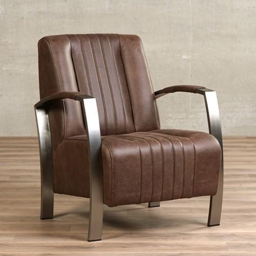 Leren fauteuil Glamour - Vintage Leer Brown - Frame industrieel