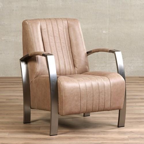 Leren fauteuil Glamour - Vintage Leer Taupe - Frame industrieel
