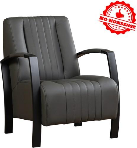 Leren fauteuil Glamour - Antraciet - Zwart stalen frame