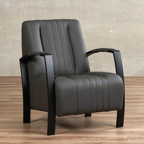 Leren fauteuil Glamour - Toledo Leer Antracite - Frame zwart