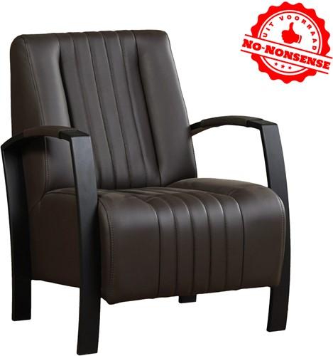 Leren fauteuil Glamour - Donker bruin - Zwart stalen frame Zwart stalen frame