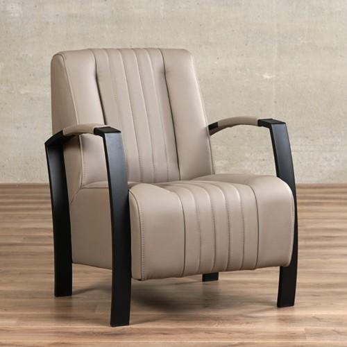 Leren fauteuil Glamour - Toledo Leer Khaki - Frame zwart