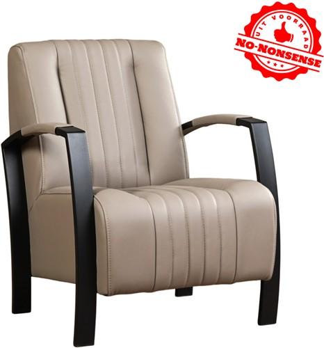 Leren fauteuil Glamour - Khaki - Zwart stalen frame
