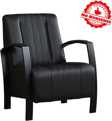 Leren fauteuil Glamour - Zwart leer - Zwart stalen frame