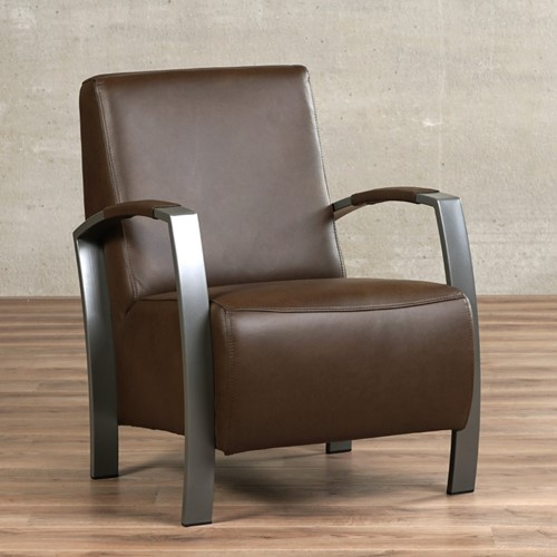 Leren fauteuil Glory - Granada leer Chocolate - Frame grijs