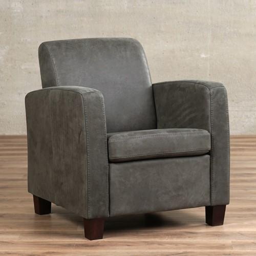 Leren fauteuil Joy - Kenia Leer Antracite - Hout - Zwart