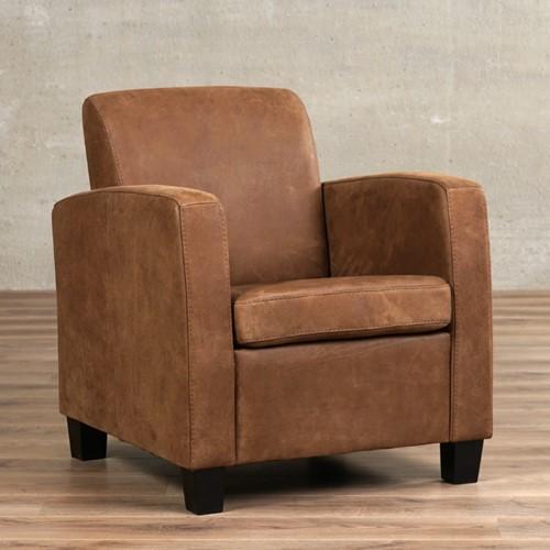 Leren fauteuil Joy - Kenia Leer Brown - Hout - Zwart