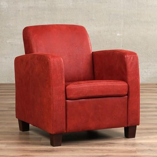 Leren fauteuil Joy - Kenia Leer Burgundy - Hout - Zwart