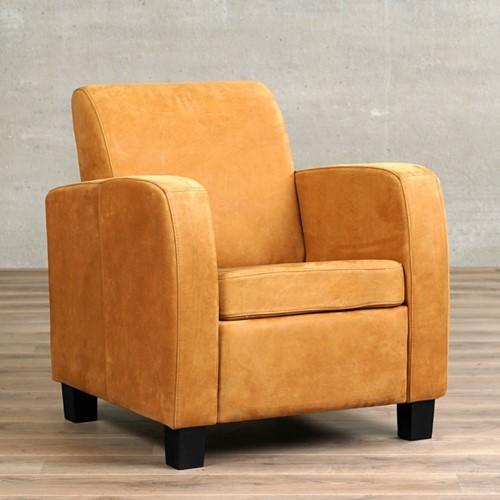 Leren fauteuil Joy - Kenia Leer Cognac - Hout - Zwart