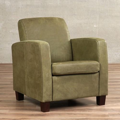 Leren fauteuil Joy - Kenia Leer Olive - Hout - Zwart