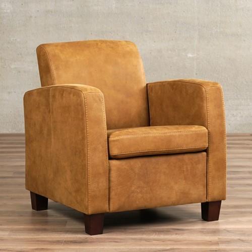 Leren fauteuil Joy - Kenia Leer Walnut - Hout - Zwart