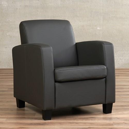 Leren fauteuil Joy - Toledo Leer Antracite - Hout - Zwart