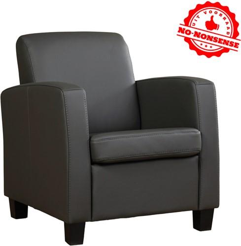Leren fauteuil Joy - Antraciet - Zwarte poot