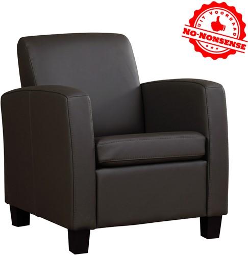 Leren fauteuil Joy - Donker bruin - Zwarte poot
