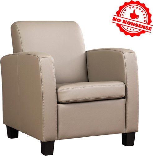 Leren fauteuil Joy - Kaki - Zwarte poot